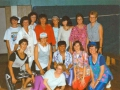Frauengymnastikgruppe tanzt im 1994 im Festzelt